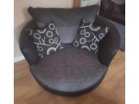 Grey & black swivel cuddle chair