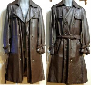 MENS 38 40 M BROWN LEATHER TRENCH COAT Paris Vintage Mint Cond Cleaned & Conditioned Retro Long Jacket Napa France
