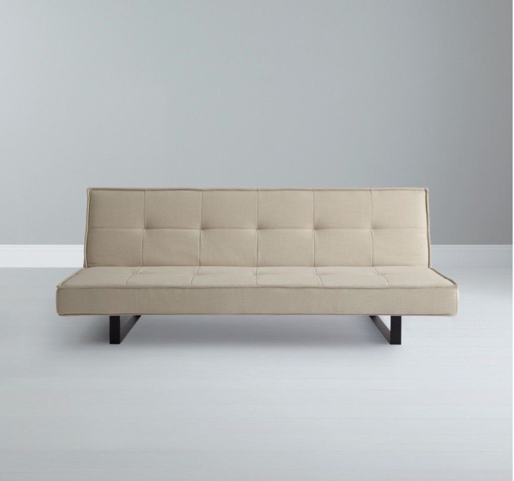 John Lewis Beige Click Clack Sofa Bed   LIKE NEW