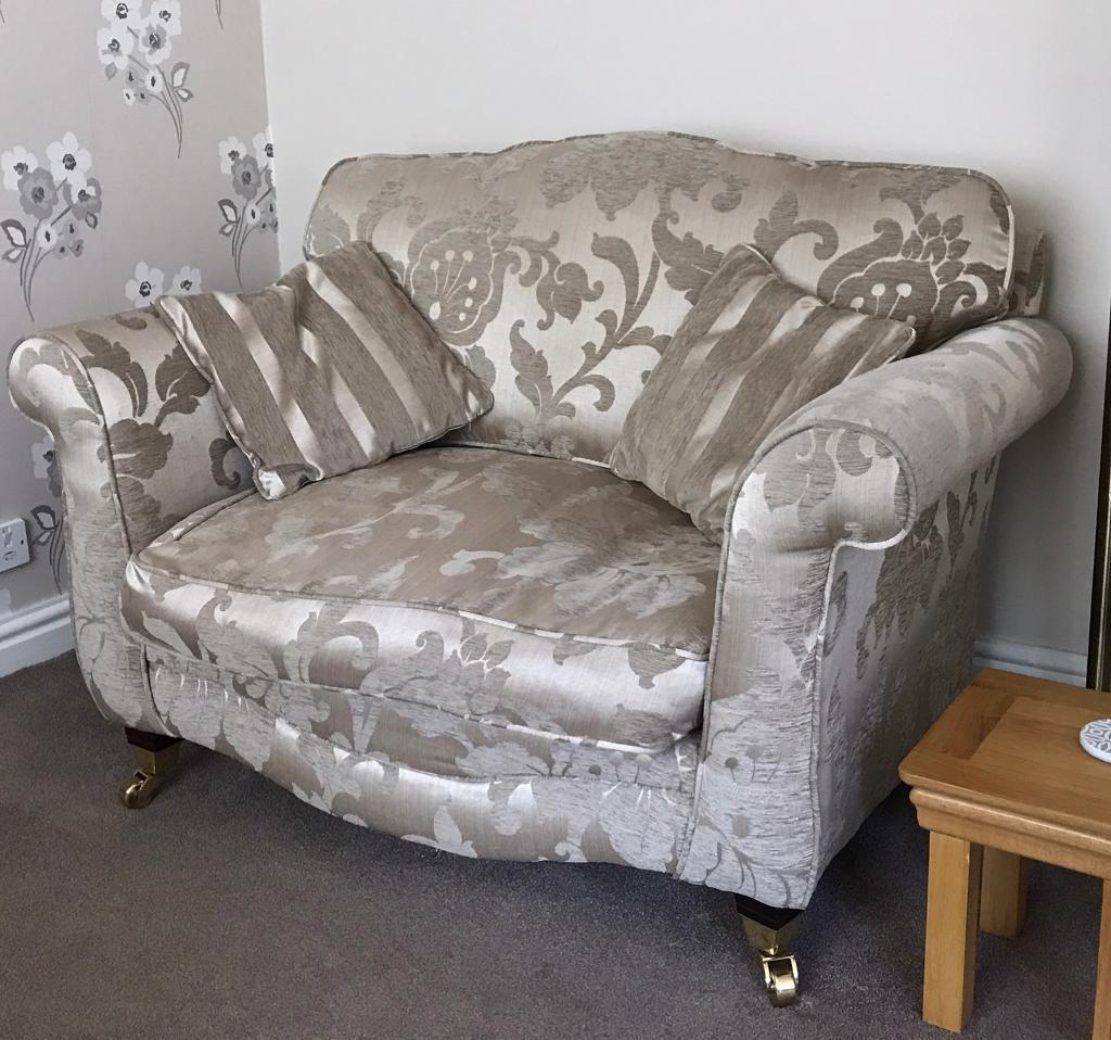 Beautiful Beige/Gold Striped U0026 Floral Sofa Couch Set   2 X Two Seater U0026 1