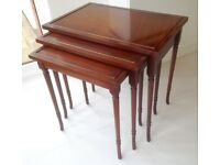 nest of 3 tables in mahogany l 585mm d 385mm h 550mm