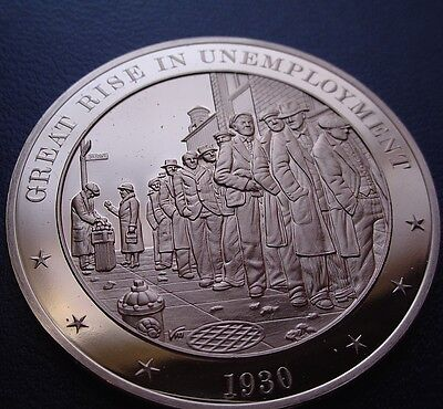 1930 The Great Depression   Rise In Unemployment   Franklin Bronze Uncirculated