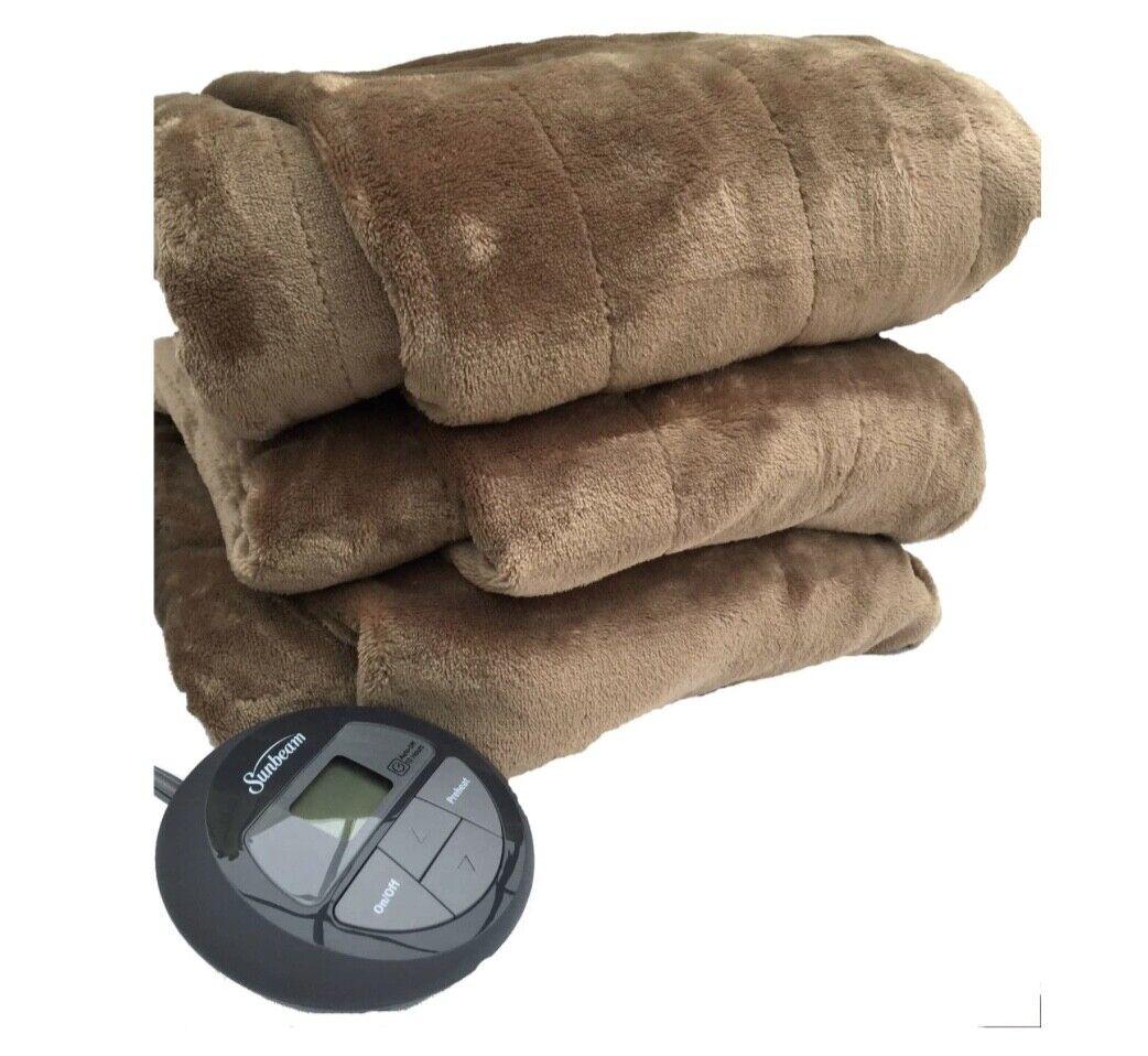 Sunbeam Channeled Velvet Plush Electric Heated Blanket King
