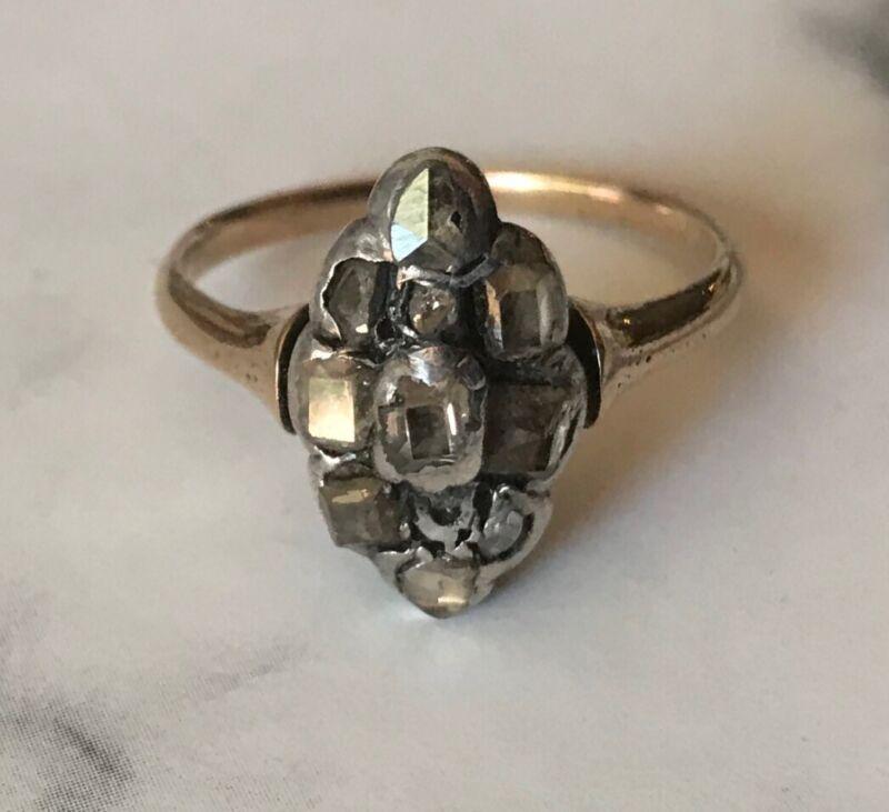 Georgian Antique Diamond Table Cut And Rose Cut Diamond Ring