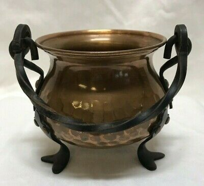 Vintage Antique - German Hammered Copper Pot with Wrought Iron Handle