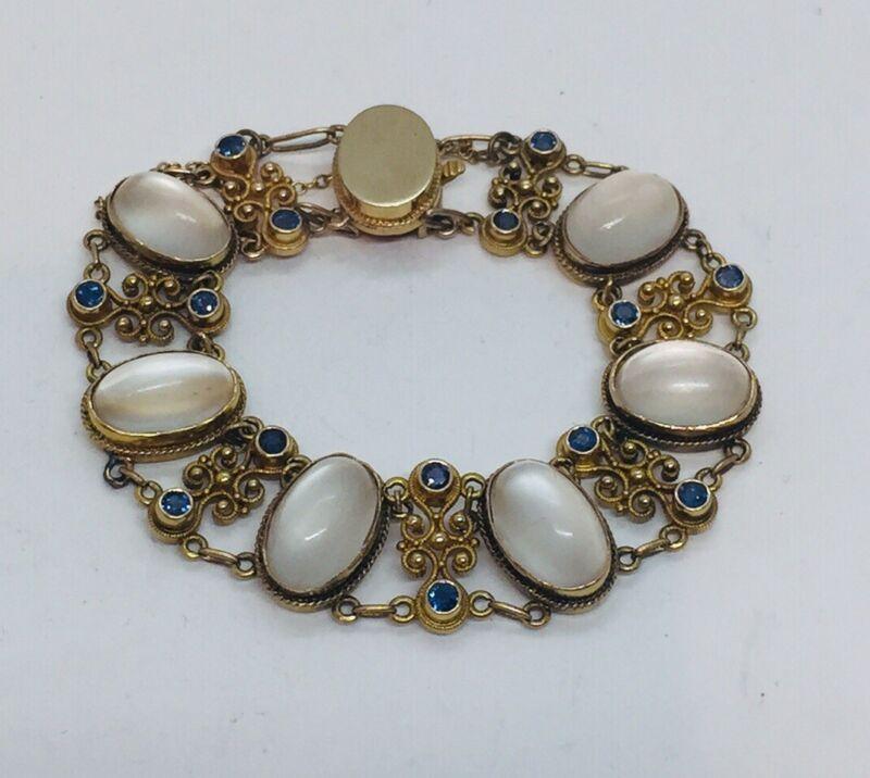 Antique Art Deco 14k Yellow Gold Filigree Moonstone & Sapphire Bracelet