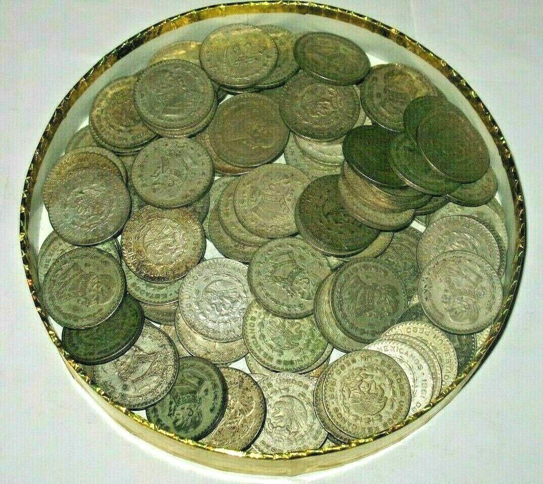 10 LARGE SILVER MEXICO UN PESO COINS JOSE MORELOS, EAGLE SNAKE --  - $42.50