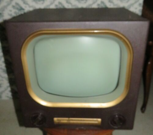 Vintage 1953 Madman MUNTZ Black White TV Television Set Leatherette