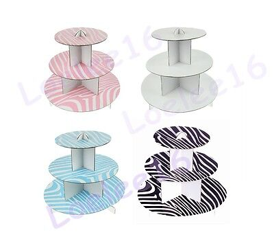 Cardboard Cake Stands (3 Tier Cup Cake Stand Holder Cardboard Display Wedding Baby Shower Party)