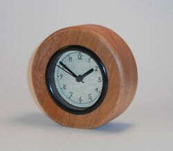 Round Mahogany Natural Wooden Desk Clock Carved Hearts Wedding Anniversary Gift