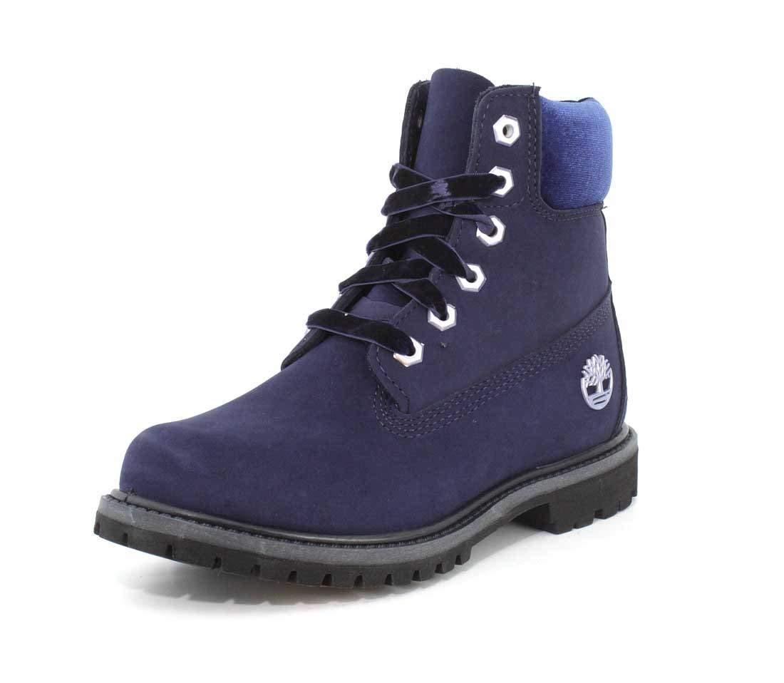 Timberland Women's 6 Inch Premium Navy Velvet Boots Originals Shoes - TB0A1KC5