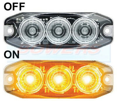 12v/24v LED LOW PROFILE CLEAR FRONT INDICATOR LIGHT LAMP KIT CAR E-APPROVED SVA
