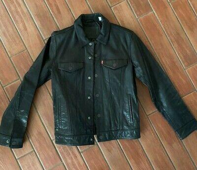 Levi's Black Leather Trucker Jacket  Men's S