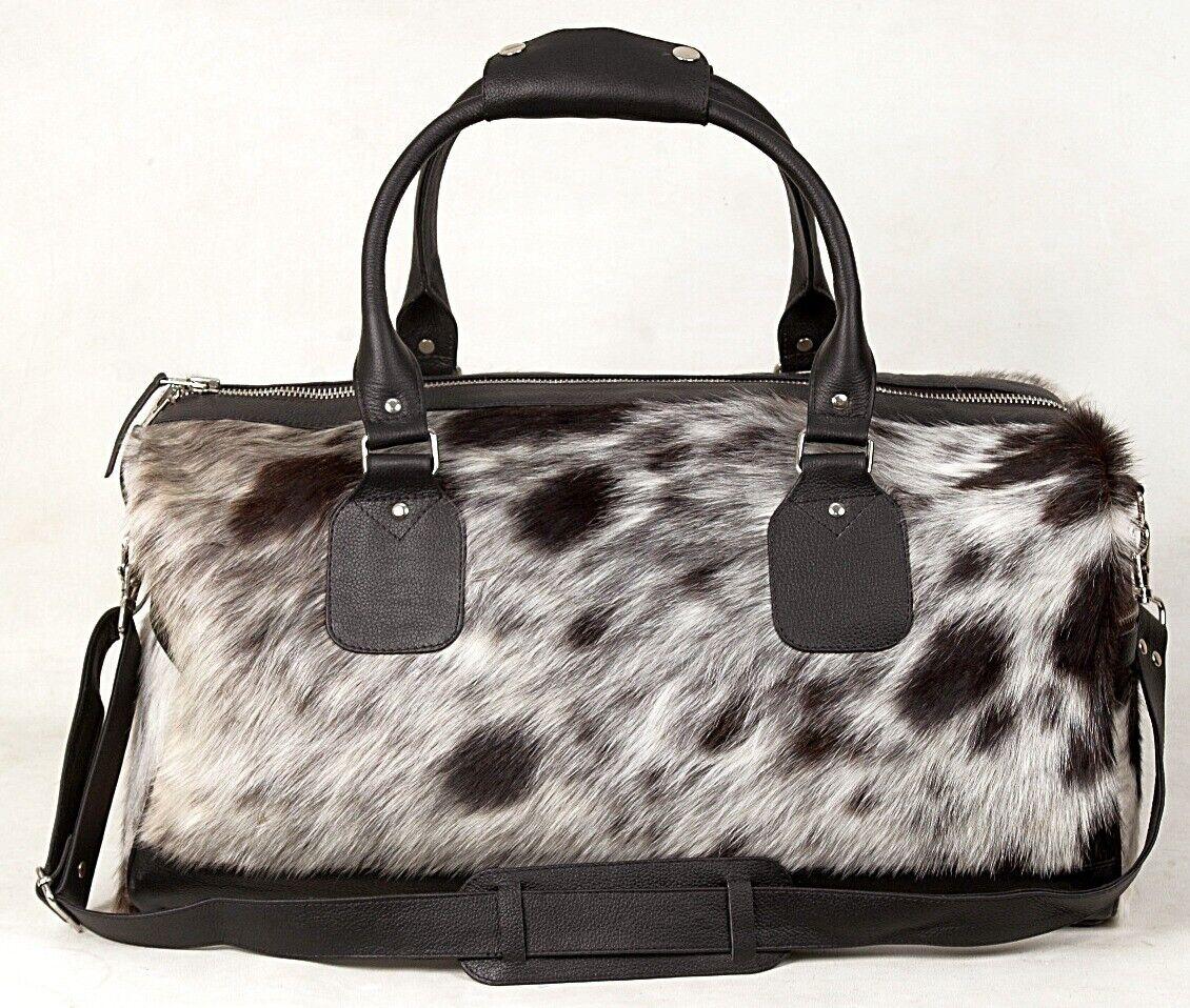 100 Leather Cowhide Holdall/Duffle -Natural Fur Weekend/Overnight YKK ZIP DB-3 - $129.99