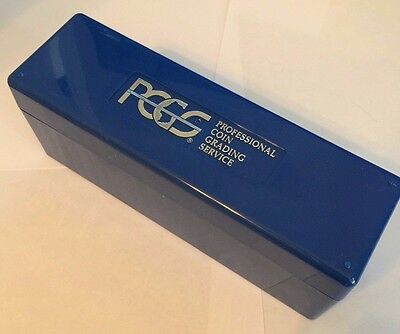 One (1) Used Empty BLUE PCGS CLEAN Plastic Storage Box Blue Holds 20 PCGS Slabs