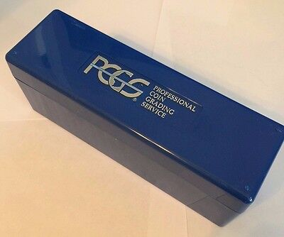 One (1) Used Empty PCGS CLEAN Plastic Storage Box Blue Holds 20 PCGS Slab Coins