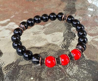 8 mm Black Onyx Red Coral Wrist Mala Beads Healing Bracelet - Blessed Karma Nirv