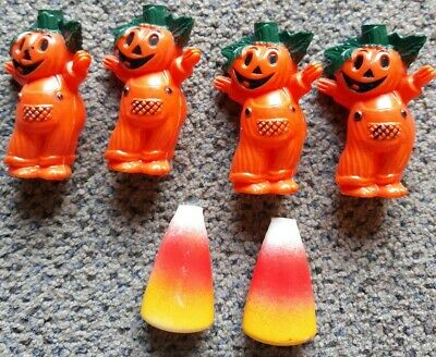 Vintage Halloween Light Covers Jack O Lanterns Pumpkin Guy (4) Candy Corn (2)