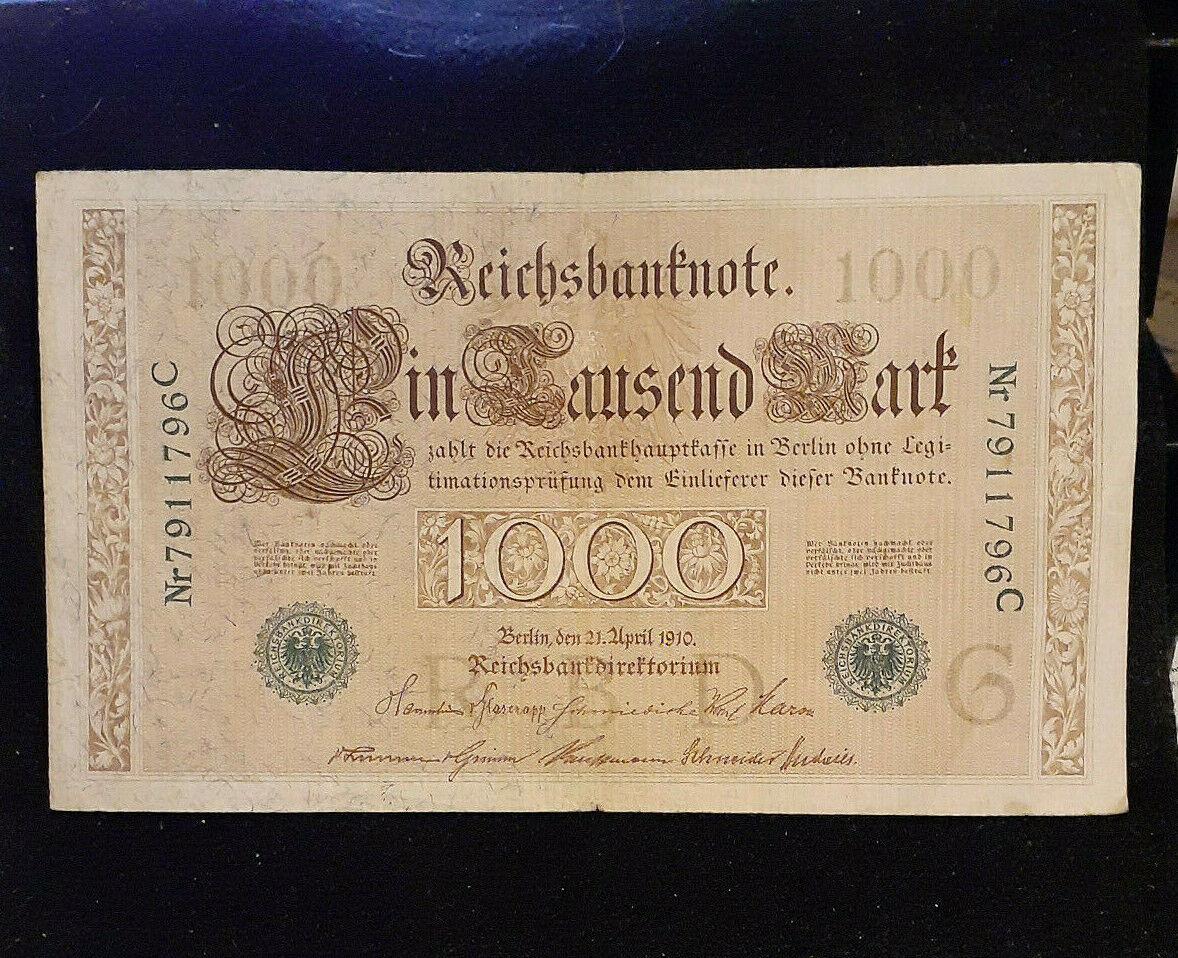 1910 1000 Marks Germany Rechsbanknote Cir. Hyperinflation Note Green Seal P44b - $2.00