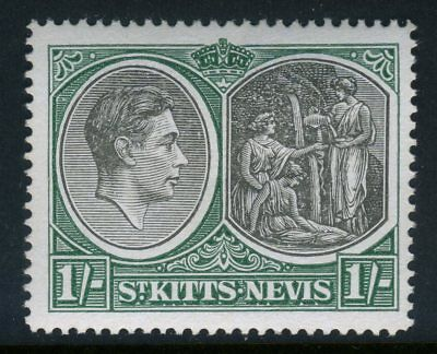 St Kitts Nevis 1938 KGVI  1s Black & Green Perf 14 SG 75b CV £5  MNH U997