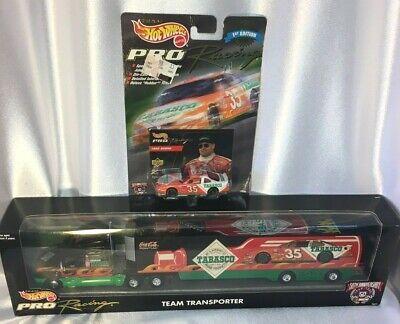 HotWheels NASCAR #35 Pro Racing Team Transporter & Car 50th Anniversary~Tabasco