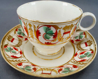 Derby Hand Painted Red Green & Gold Scrolls Porcelain Tea Cup & Saucer 1800 - 25