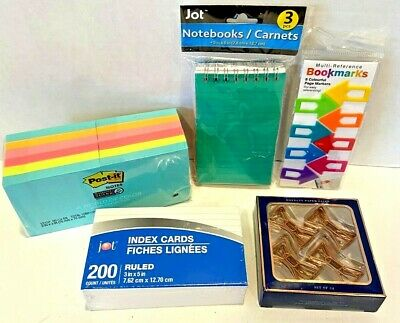 Mixed Lot Office Supplies Post-it Paper Clips Bookmark Notebooks Index Cards New