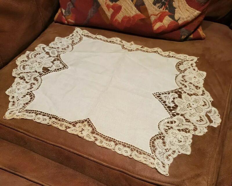 Vintage Doily linen lace ecru victorian home decor essential collectible