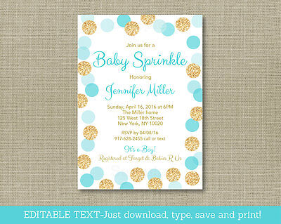 Baby Sprinkle Invitations (Blue & Gold Glitter Baby Sprinkle Printable Baby Shower Invitation Editable)