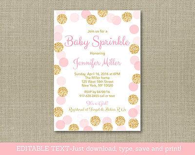 Blush Pink & Gold Baby Sprinkle Printable Baby Shower Invitation Editable PDF - Sprinkle Baby Shower Invitations