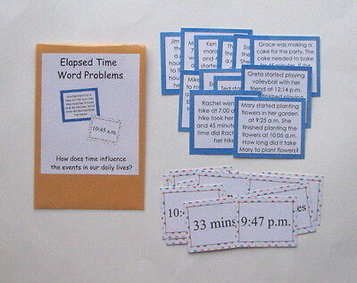 Teacher Made Math Center Learning Resource Game Elapsed Time Word Problems Elapsed Time Game