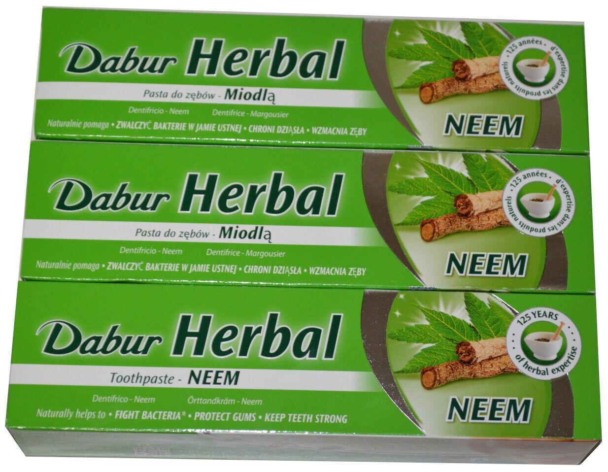 Dabur Herbal Zahnpasta mit Neem Ayurvedische Kräuter-Zahncreme Zahnpflege