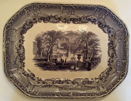 Antique Podmore & Walker Venus Mulberry Platter Transferware Pearl Stoneware PWC