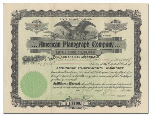 American Planograph Company Stock Certificate (Early Linotype Company)