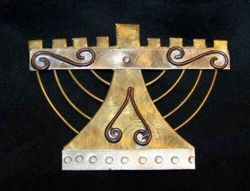 Vintage Menorah Pin Brooch-Tri Colored Metal-Estate Jewelry