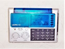 Ultronic Portable WS-9 LCD World Travel Alarm Clock Radio W/ Calculator EUC