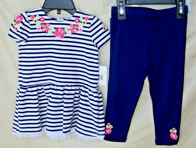 LITTLE ME STRETCH  2 pc Navy Stripe DRESS w/Navy Legging Set SIZE 18 MONTHS NWT