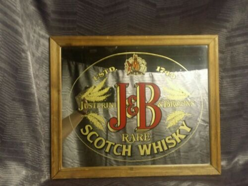"Vintage Rare J&B Scotch Whiskey Mirror Bar Man Cave Advertising 17""x14"" Pub Sign"