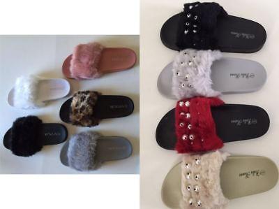 Womens  Flats Fur Slip On Comfy Flip Flop Slider Slippers Rubber Sandals