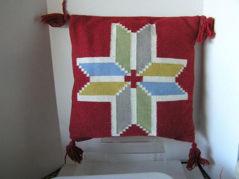 "IKEA HAND WOVEN Red WOOL Pillow Ethnic Design Southwest 20"" x 20"" complete"