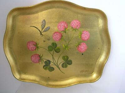 Beautiful Vintage SIGNED Hand Painted Floral Dragonfly Wooden Gold Leaf Tray 16