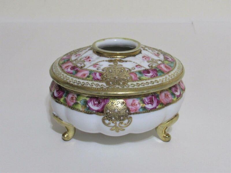 Nippon Noritake hair receiver vanity jar hand painted floral moriage gold trim