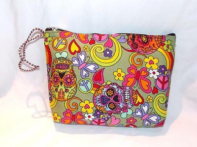 Candy Skull Make-up (FAIR TRADE CANDY SKULL HIPPY BOHO WASH BAG  MAKE UP CASE FROM MARRAKESH MOROCCO)
