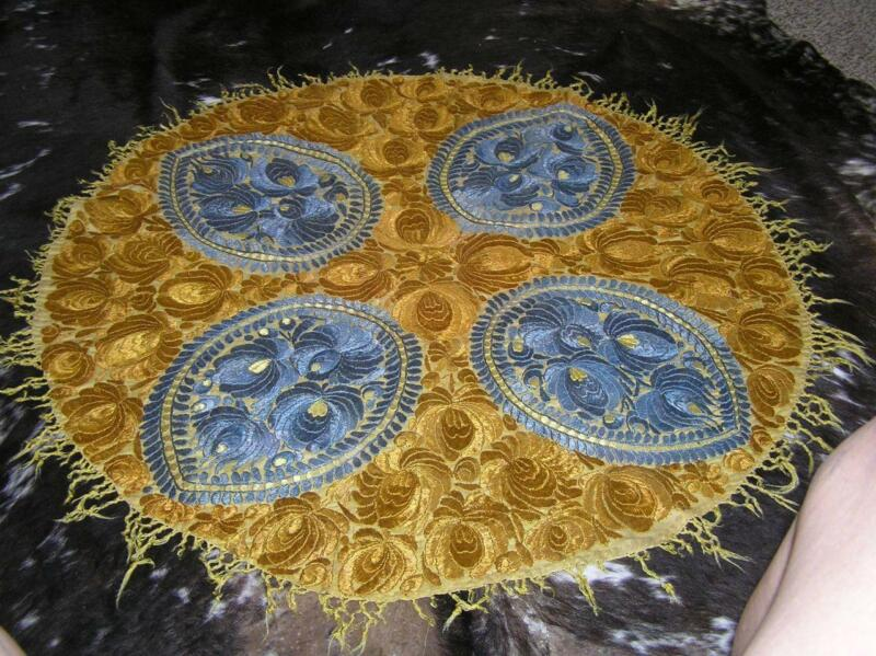 Antique Lotus Round Intricate Hand Embroidered Tapestry Runner Tablecloth 36""