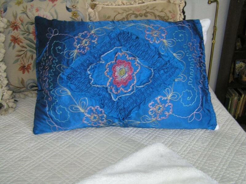 1926 Blue Satin Embroidered Pillow Case Stunning! Standard Size Beautiful