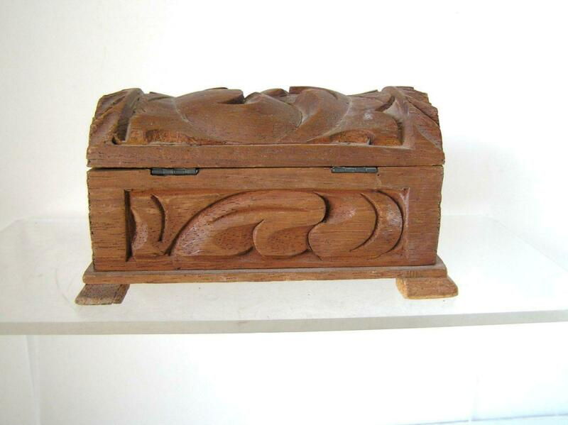"""Folk ART Mexican Spanish Wooden Hand Carved Footed Trunk Trinket Box 6""""x 3""""x 4"""""""