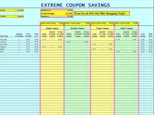 EXTREME COUPONING TRACKING SPREADSHEET EXCEL - GROCERY LIST COUPON SAVINGS