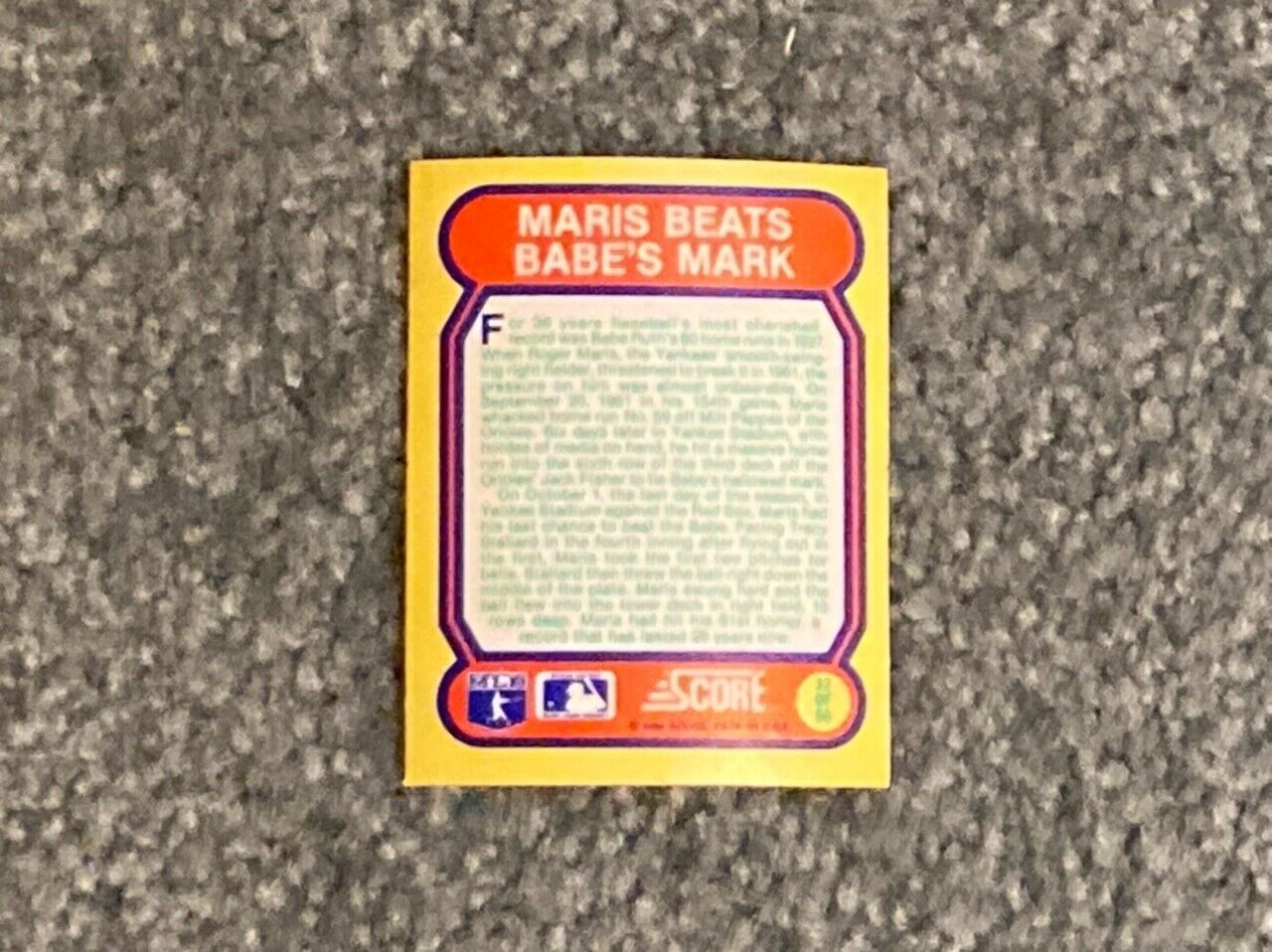 SCORE 1988 Great Moments In Baseball Hollogram Card Roger Maris Passes Babe Ruth - $2.00