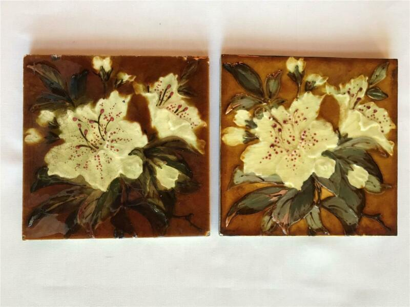 "2 Antique Oriental Lily Wade & Co Glazed 6"" Ceramic Tiles Staffordshire, England"