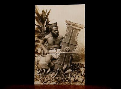 BAGOBO WARRIOR with SHIELD & SPEAR MINDANAO PHILIPPINES RPPC MORO 1930s PHOTO